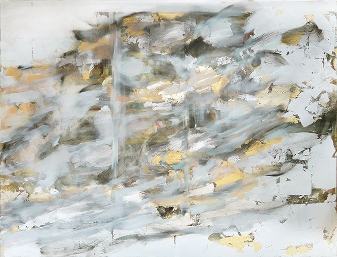 Stormcloud, 110x145cm,oil and gilded metal leaf on canvas,2016