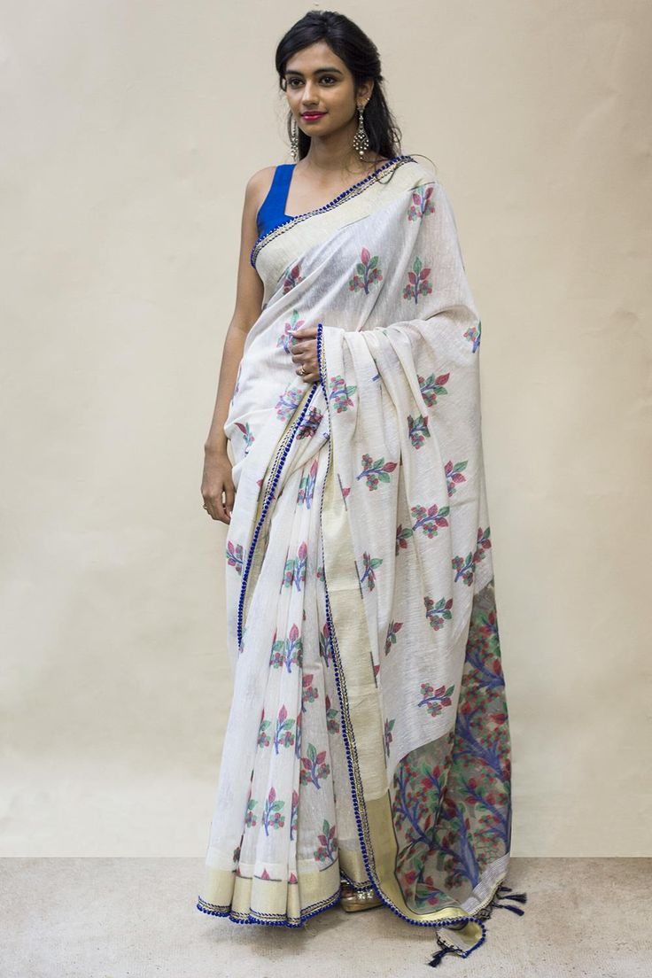 White with blue print linen saree | House Of Blouse