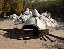 HUSSAIN-DOSHI NI GUFA (Cave), Underground Art Gallery in Ahmedabad, Gujarat; made by famed Architect BV Doshi for acclaimed artist MF Hussain; the outer surface is made of Ferrocement, mixture of Portland cement and sand applied over layers of woven or expanded steel mesh (underground to beat the severe heat in the city's peak summer, & cooler in few months of winter)