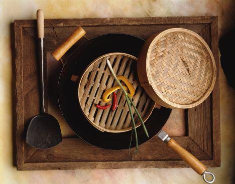 wok cesto bambu Panela wok