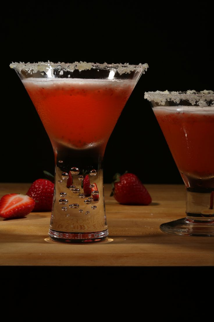 Fruity, fizzy and pink:  A summer cocktail made of lemon sorbet, strawberries, vodka and champagne.