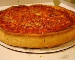 Can I convince Mr. Pizza? This is deep dish with almond flour base. Hmmm.