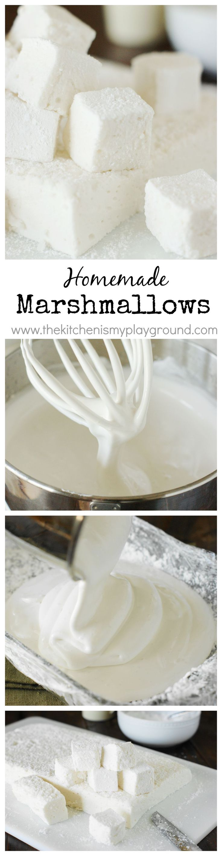 How to Make Homemade Marshmallows ~ they're TOTALLY worth the homemade time & effort!  And perfect for little gift bags.   www.thekitchenismyplayground.com