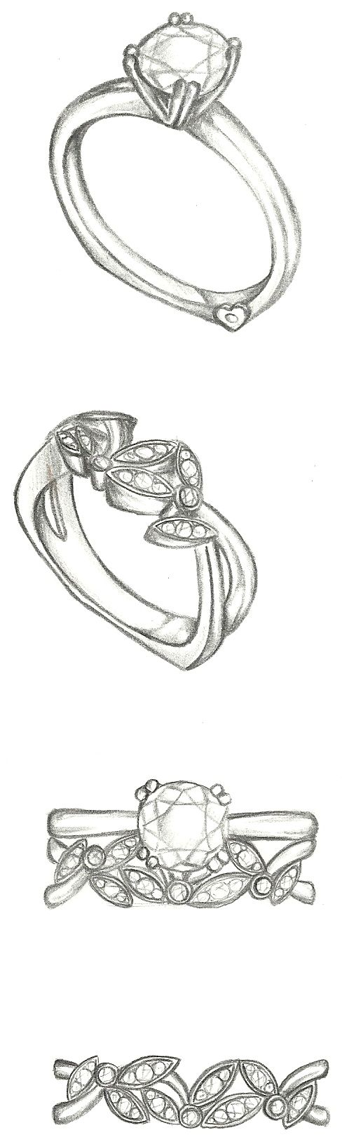 Mark Schneider Design - custom solitaire with floral wedding band