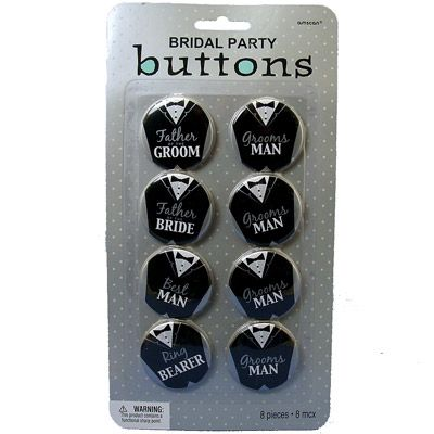 Wedding Decor, Favours and Gifts. In stock - very cute bridal party buttons. Only R95 for 8piece set