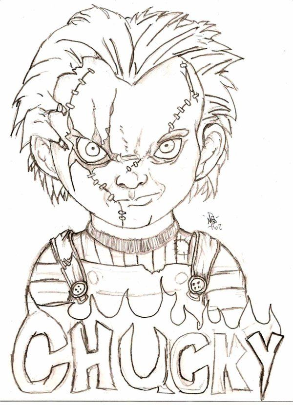 Chucky By Eyball Scary Drawings Creepy Drawings Horror Drawing