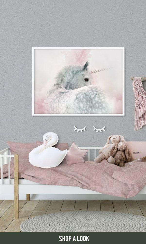 Einhorn Kinderzimmer Wand Kunstdruck Girls bedroom