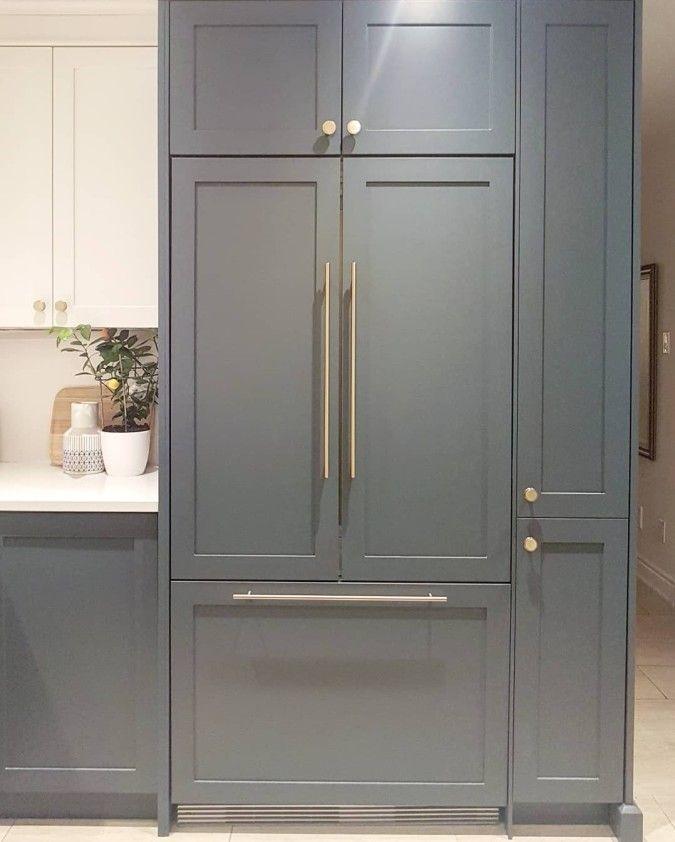 Kitchen Sneak Peek Built In Panel Ready Fridge Navy Blue Cabinets Brass Handles Kitchen Makeo Ready Made Kitchen Cabinets Refrigerator Cabinet Blue Cabinets