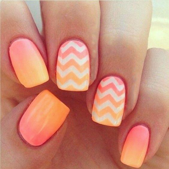 #Nails #Orange #Mani