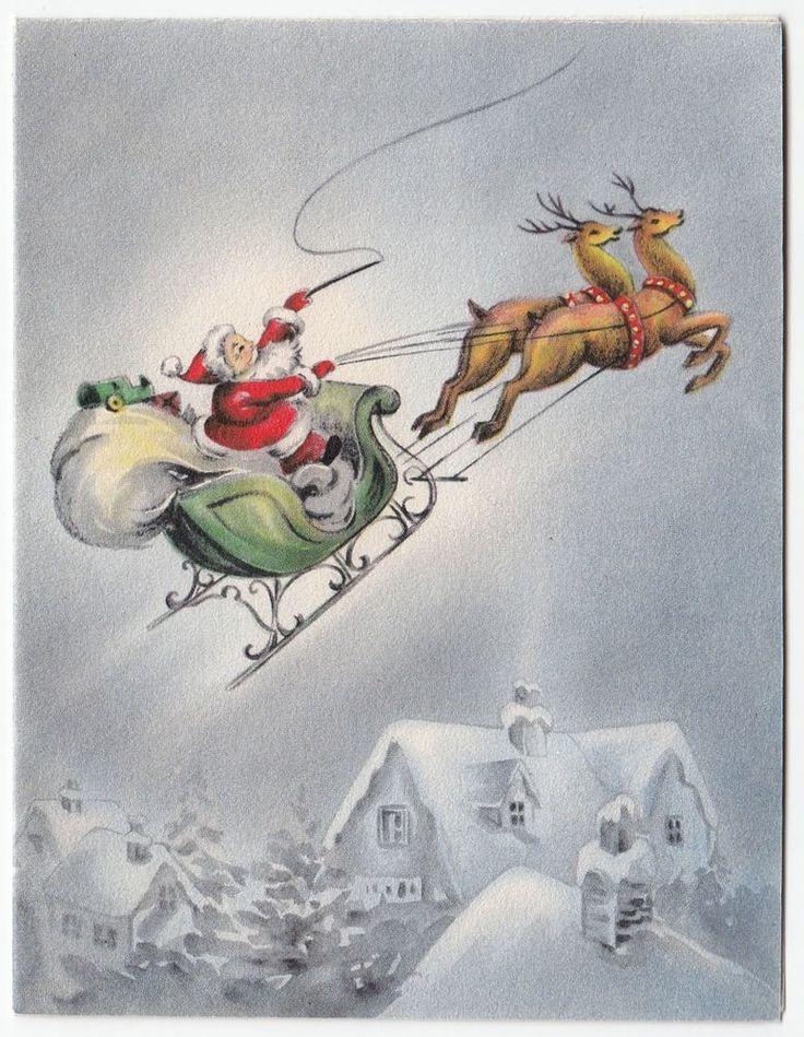 Vintage Greeting Card Christmas Santa Claus Sleigh Reindeer Houses Hallmark e976