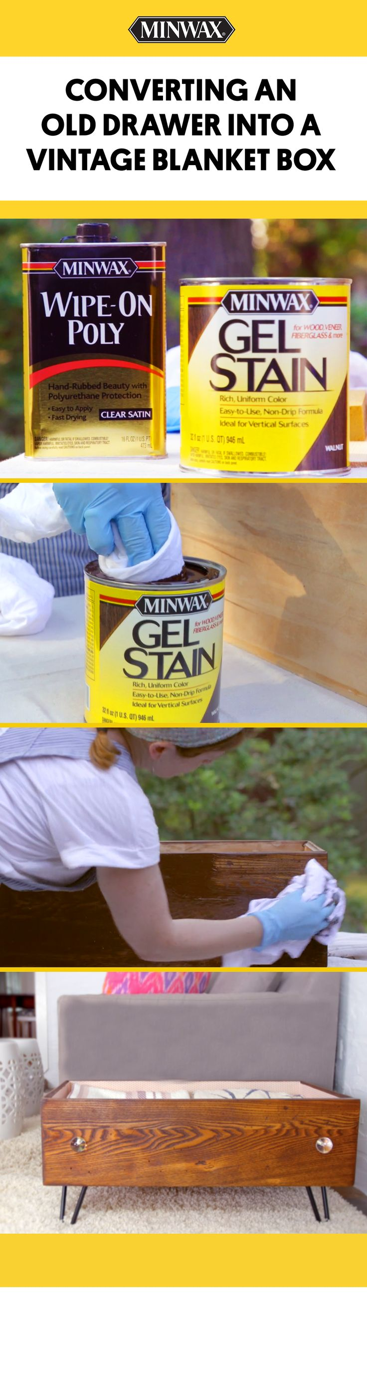 See how PureWow used Minwax® products to convert an old drawer into a vintage blanket box.