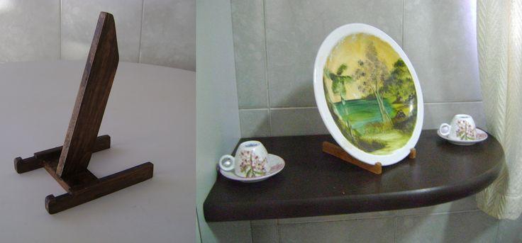 Suporte para Prato Decorativo Armare -Artesanato de Madeira Reciclada www.elo7.com.br/armare #suporte #prato #pratodecorativo