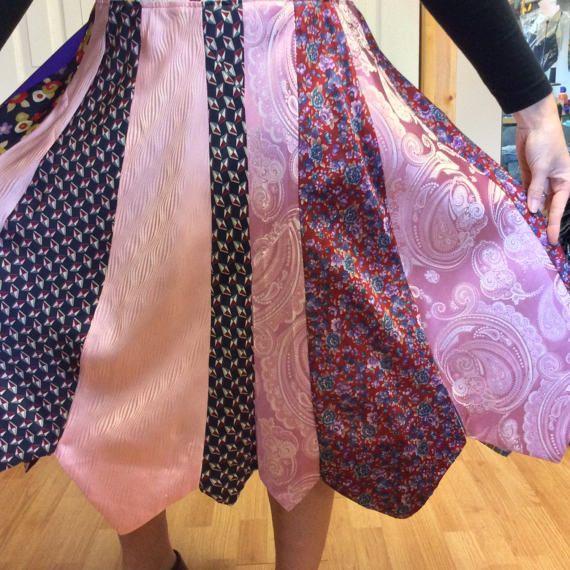 Roze zijde stropdas rok/Womens Plus Size rok/Upcycled