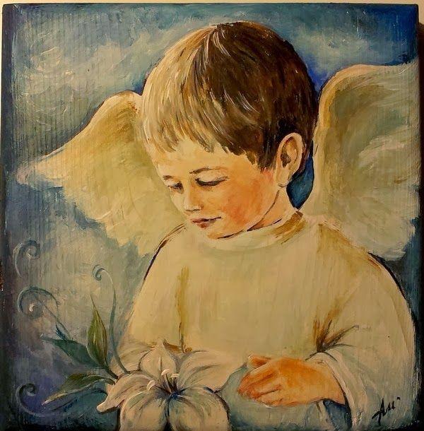 Aniołek.. chłopczyk :)  angel acrylic painting on wood