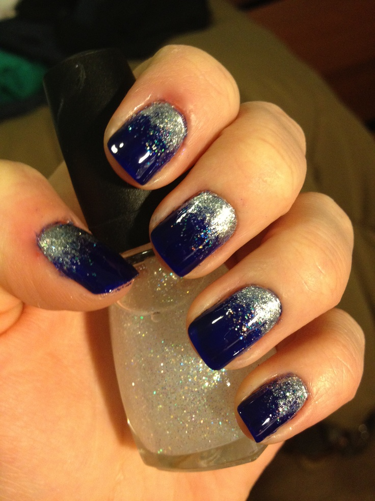 So Sparkly! | Navy and silver nails, Blue and silver nails ...