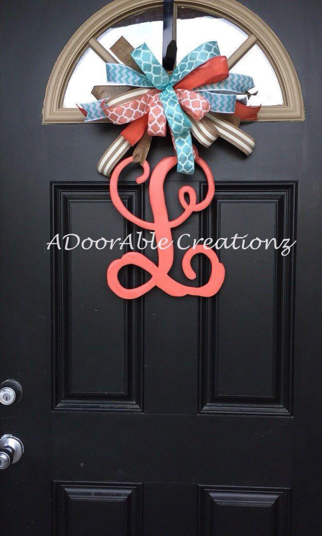 Monogram Letter Door Hanger, Monogram Door Hanger, Monogram initial Door Hanger, Mongram Wreath by ADoorAbleCreationz on Etsy https://www.etsy.com/listing/230133539/monogram-letter-door-hanger-monogram