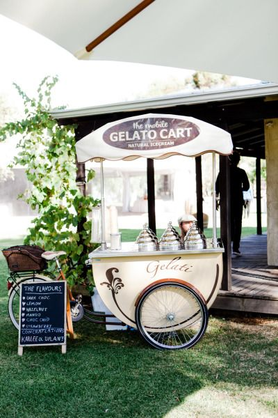 Gelato cart: http://www.stylemepretty.com/australia-weddings/western-australia-au/2015/06/04/casual-rustic-western-australia-farm-wedding/ | Photography: Nicolle Versteeg - http://nicolleversteeg.com/