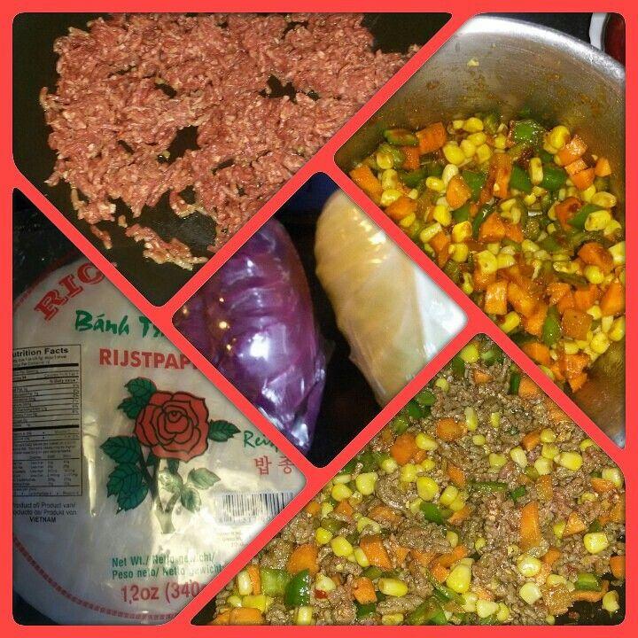 Zelf gemaakte groente loempia's
