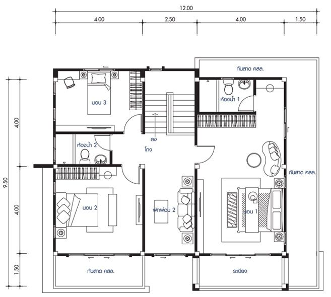 House Design Plan 12x9 5m With 4 Bedrooms House Plan Map Home Design Plans Philippines House Design House Design