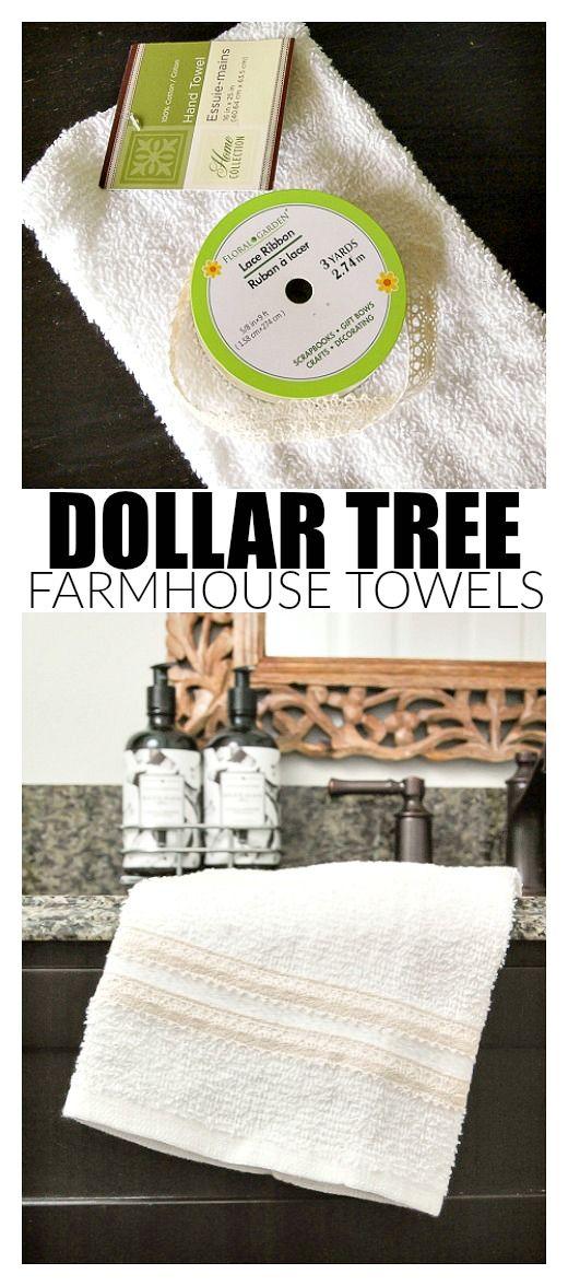 Dollar Store DIY: Easy 5 Minute Farmhouse Towels
