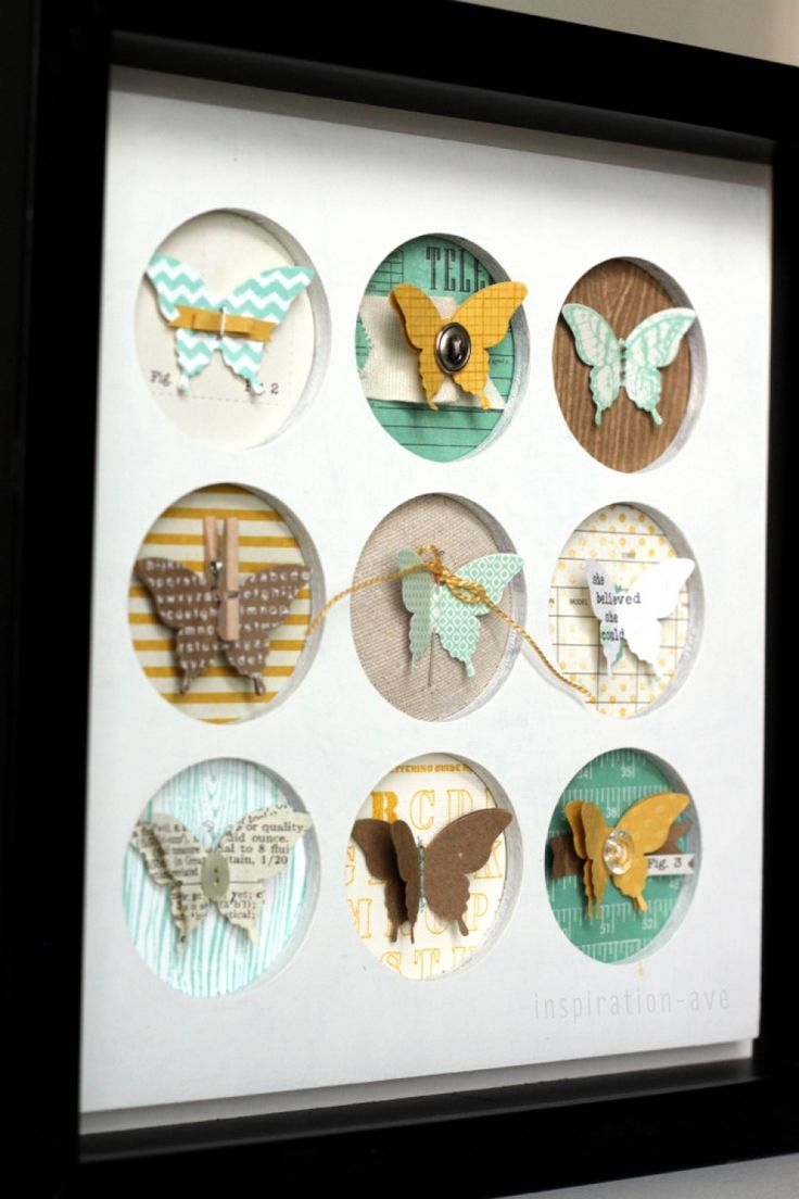 Awesome DIY papercrafting mixed-media collage wall decor idea -- not thrilled with butterflies, but there a zillion other cutouts you could use, I just love the technique.