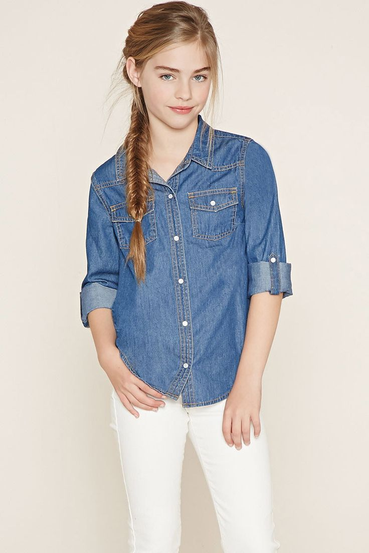 Forever 21 Girls - This woven chambray shirt features a snap-buttoned front, two snap-button chest pockets, a basic collar, and roll-tab long sleeves.