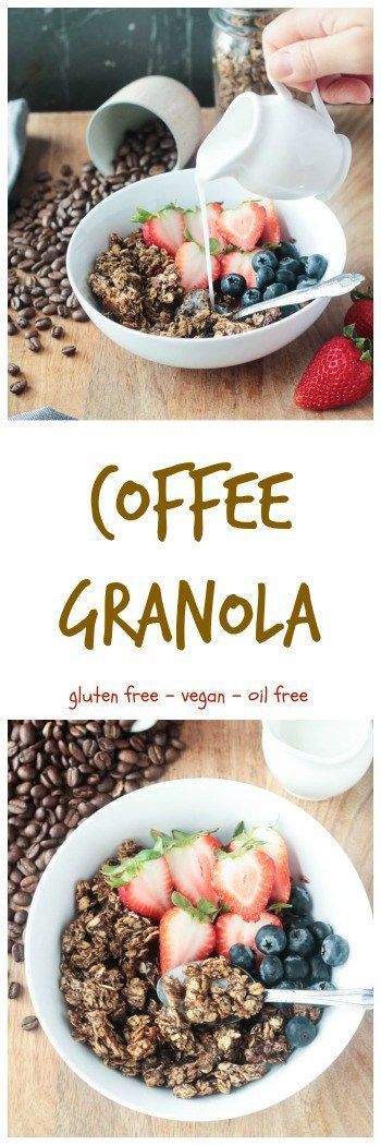 Coffee Granola - crunchy gluten free granola flavored with real coffee grounds. The perfect breakfast or anytime snack that will give you an energy boost. Vegan, Oil Free, Dairy Free