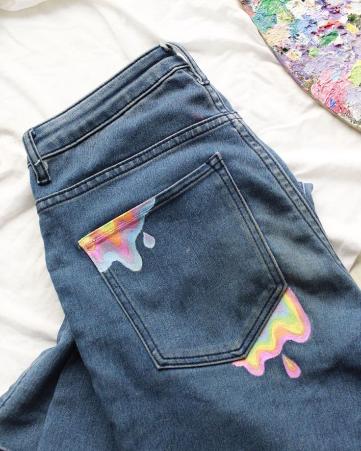 Oozing rainbow painted pants