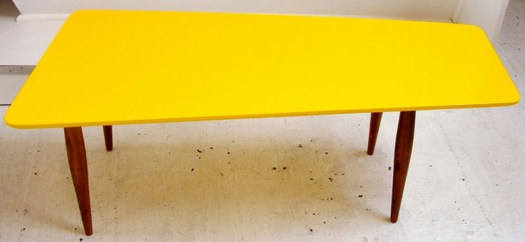 Excellent Contrasting Black And Yellow Coffee Table By Brigada : Black And Yellow Coffee Table By Brigada With Trapezoidal Shape In Hardwood...