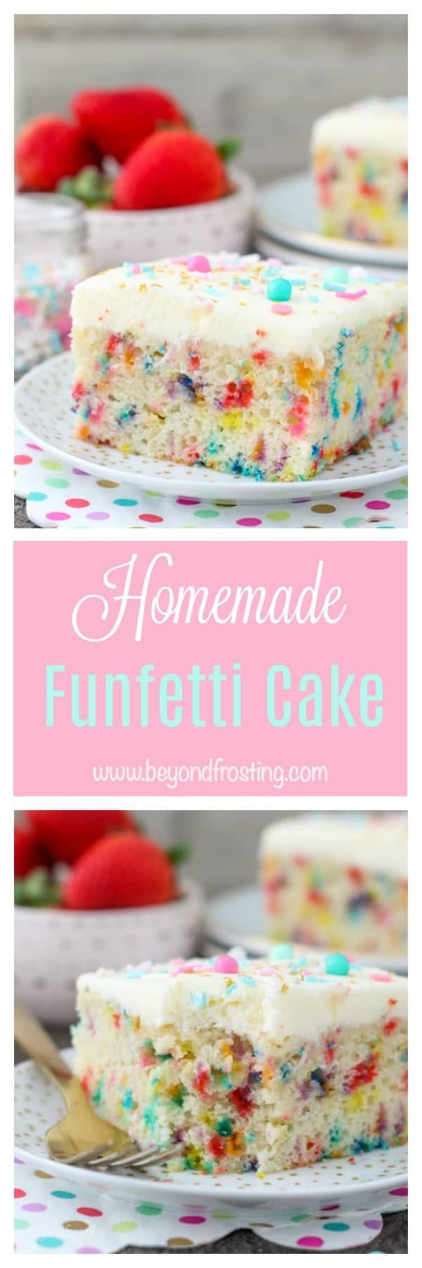 This moist Homemade Funfetti Cake recipe is a slightly denser than average cake with a tight crumb made with buttermilk. It's has a sponge like texture and it's packed full of vanilla and sprinkles.