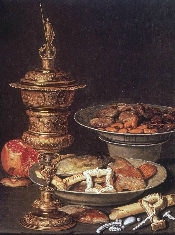 Clara Peeters, Still Life with Gilt Cup, Sweets, and Pomegranate, ca. 1612. Oil on panel, 45.5 cm x 33 cm. Private collection.