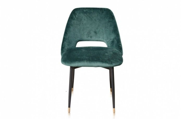Belle Chaise De Table Healey Avec Son Pietement En Metal Noir Embouts En Laiton Et Assise En Velours De Coton Table Et Chaises Style Annees 50 Chaise