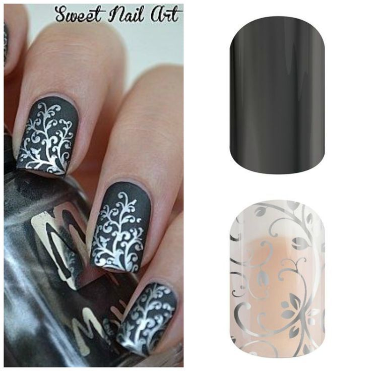 Get the look with Jamberry Nail Wraps using silver floral layered over tungsten.  https://nancylennie.jamberry.ca/shop (not my photo)