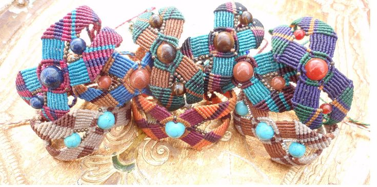 https://flic.kr/p/D2JoQJ | Macramé-Cavandoli bracelets with semi-precious beads | Macramé-Cavandoli bracelets with semi-precious beads