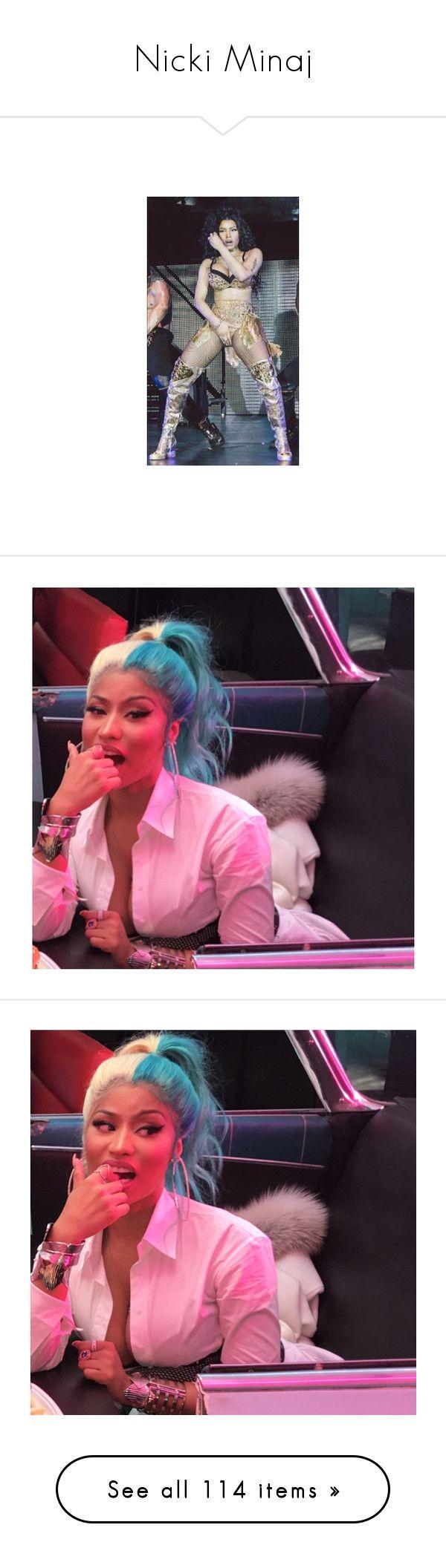 """Nicki Minaj"" by nasza ❤ liked on Polyvore featuring mood, nicki minaj, pictures, nicki, people, hair, moschino, tops, sexy tops and brown top"
