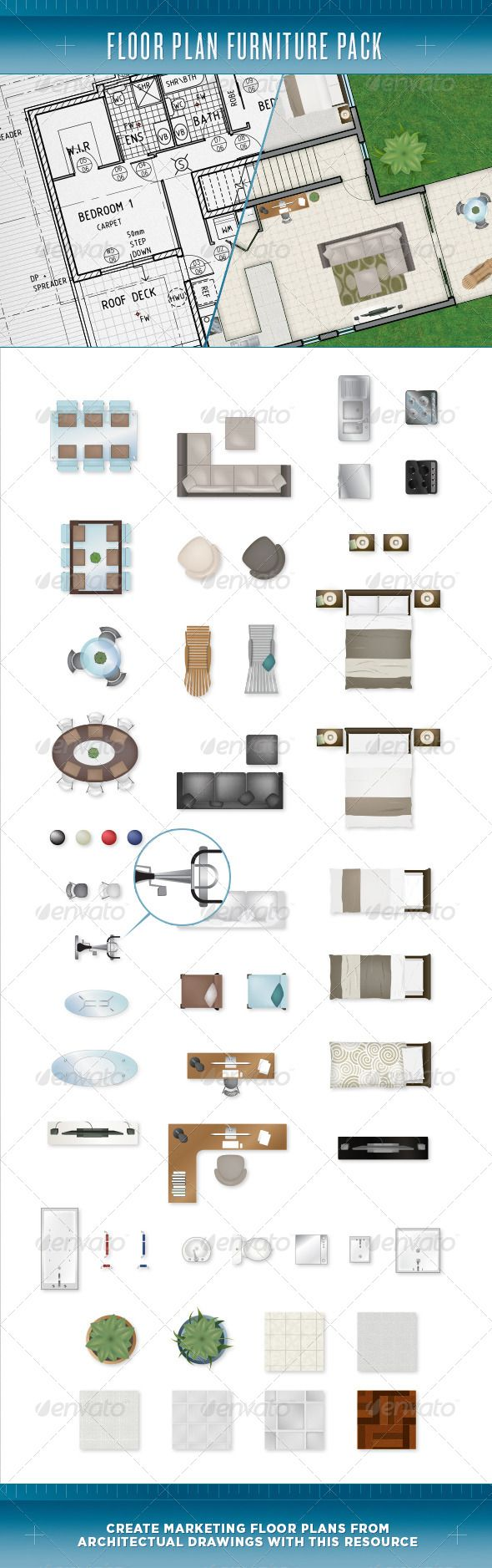 Floor Plan Furniture Pack — Vector EPS #house plan #television • Available here → https://graphicriver.net/item/floor-plan-furniture-pack/3793645?ref=pxcr