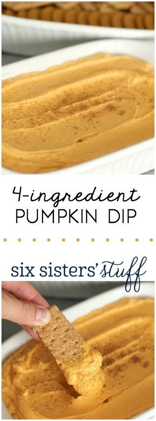 This 4-Ingredient Pumpkin Dip from SixSistersStuff.com is so delicious and perfect for parties!