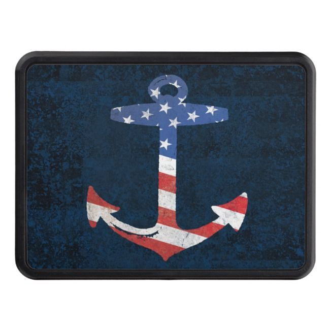 Vintage Patriotic American Flag Anchor Nautical Us Trailer Hitch Cover Zazzle Com Hitch Cover Trailer Hitch Cover American Flag