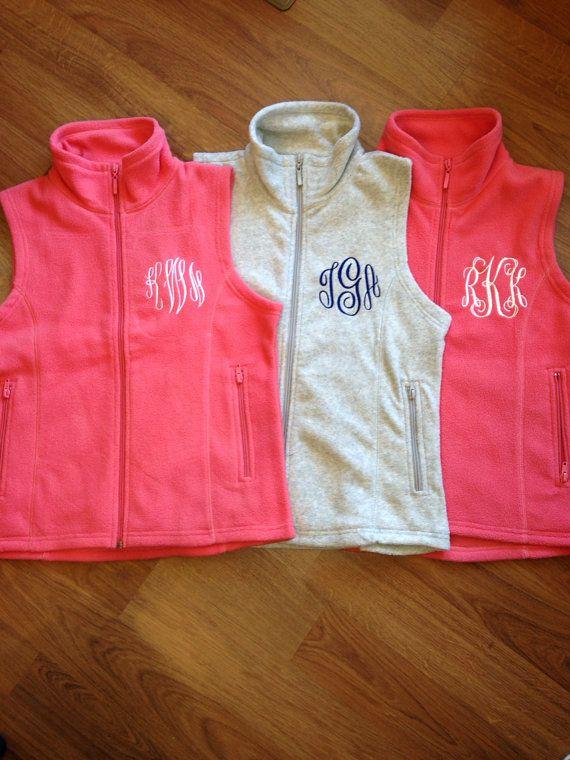 Monogrammed Women's Micro Fleece Vest-personalized, bridesmaids, gifts, monogram