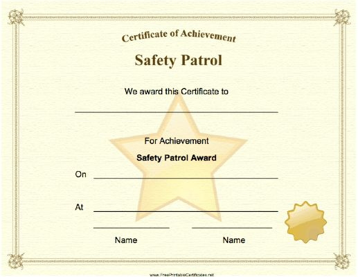 A Big Gold Star And Seal Adorn This Safety Patrol