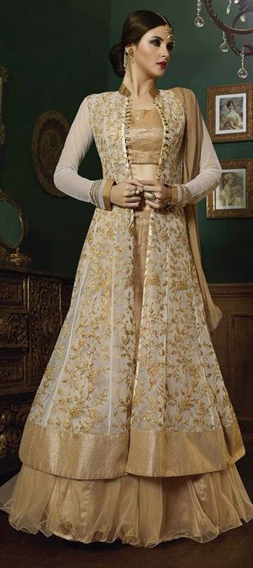 189801 Beige and Brown, White and Off White  color family Long Lehenga Choli in Net fabric with Border, Machine Embroidery, Resham, Thread, Zari work .