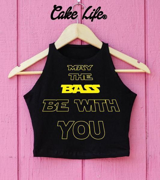May The Bass Be With You - Graphic Top  Shirt Cake Life® - BRIDE One Piece - Swimsuit - White or Black - Cake Life
