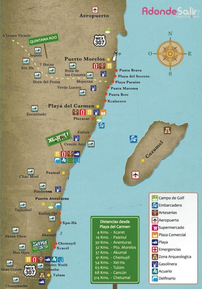 Mapa Cenotes en la Riviera Maya