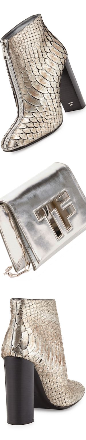 TOM FORD Front-Zip Python Ankle Boot, Antique Silverand Small TF Chain Crossbody Bag, Silver