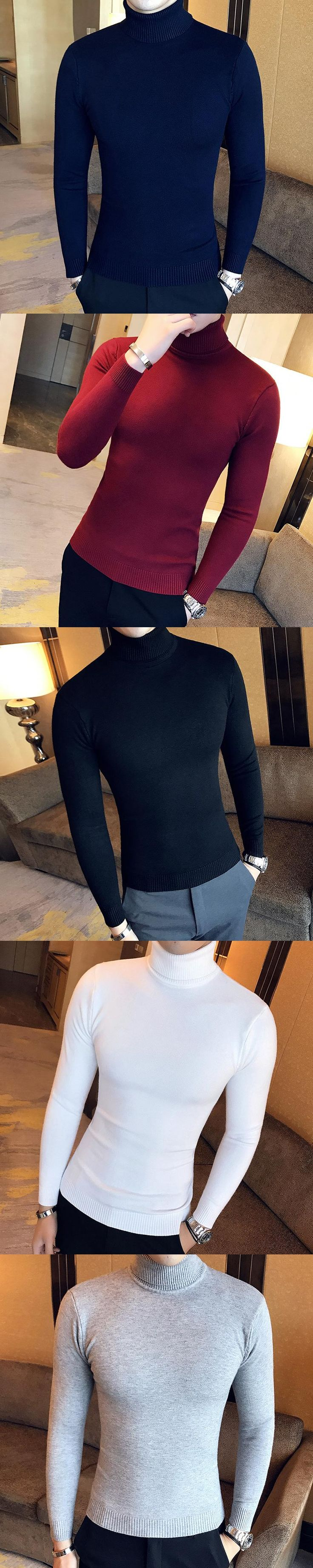 Basic Sweater Men Solid Simple Slim Fit Mens Casual Turtleneck Pullovers Mens Long Sleeve High Collar Knitted Men's Jumpers Hot