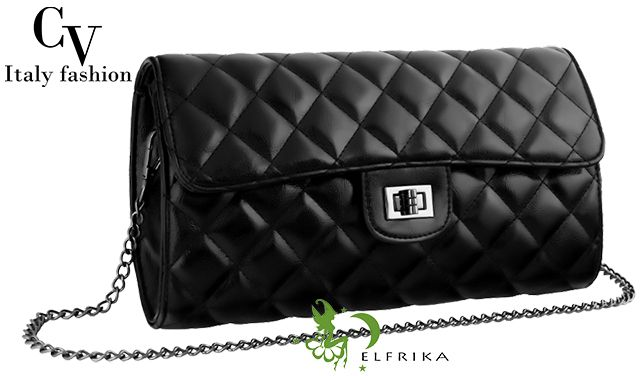 Damska torebka – chanelka w kolorze czarnym / Więcej na www.elfrika.pl