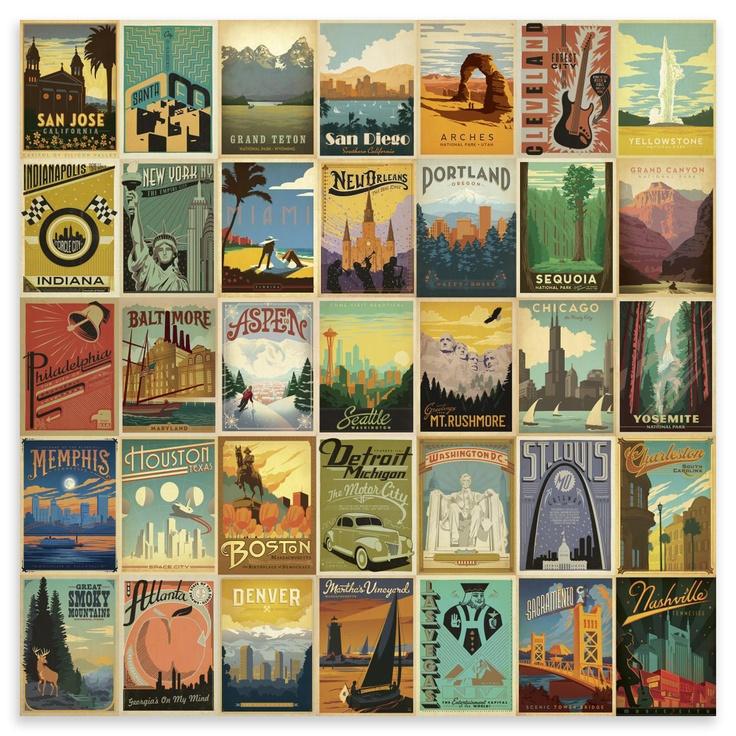 ACHICA | ProductVintage Usa, Vintage Posters, Art Work, States Art, Usa Vintage, Art Prints