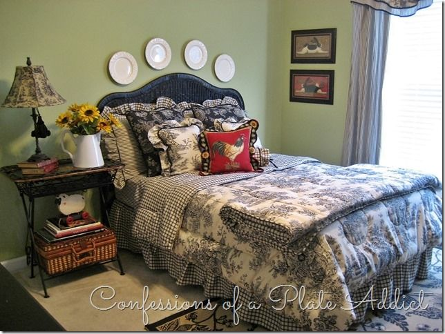come in summer tour of my home home decor ticking toile and checks in the guest bedroom