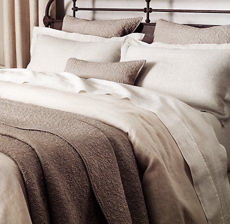 Vintage-Washed Belgian Linen Sheet Set in White from Restoration Hardware.  I might have to get these since it gets ridiculously hot here in the desert and they're on SALE now!