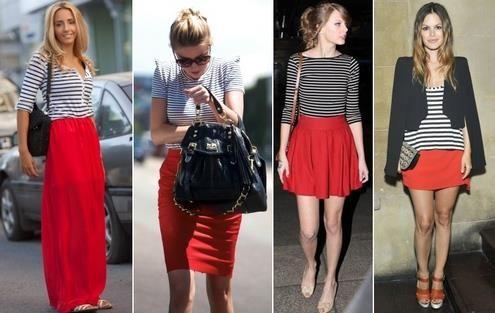 Белое платье в красную полоску фото